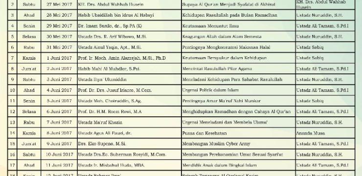 Jadwal Imam Tarawih dan Penceramah